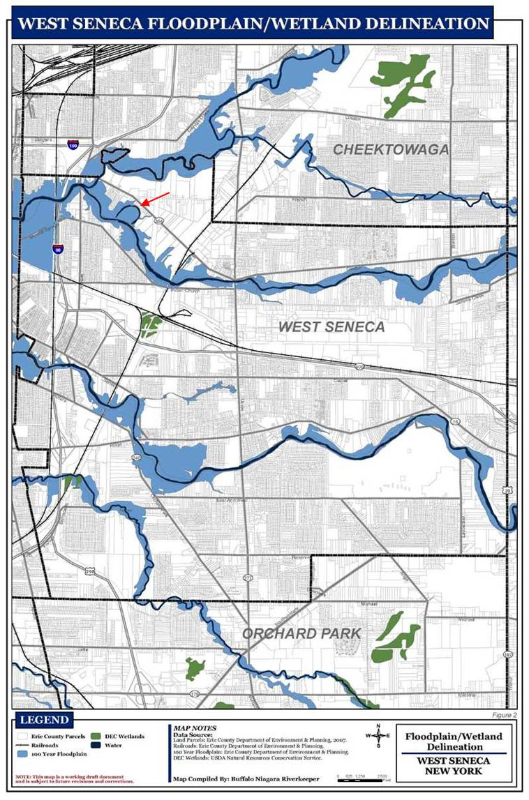 Arrow indicates the approximately 30-acre oxbow area, including floodplain forest, meadow, and the newly DEC-designated 14-acre oxbow wetland.